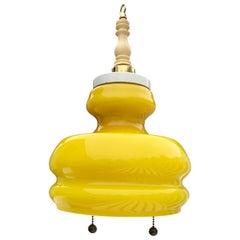 Italian Bright Yellow Mid-Century Glass Pendant, circa 1950's