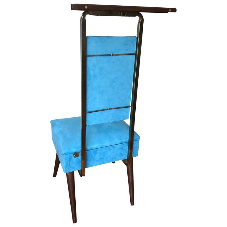 Mid Century Modern Valet Butlers Chair In Turquoise Fabric 3