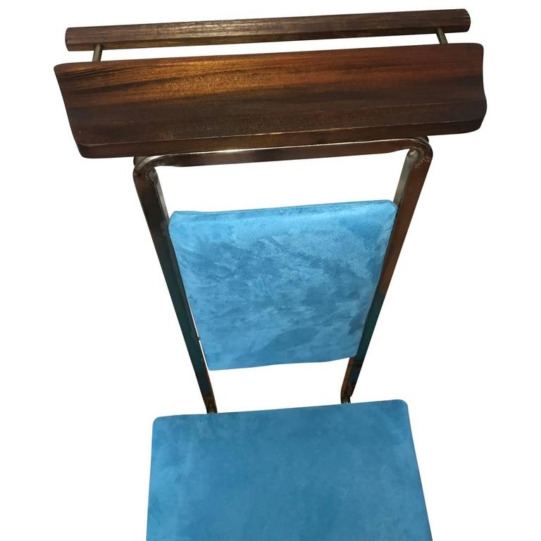 Mid Century Modern Valet Butlers Chair In Turquoise Fabric 2