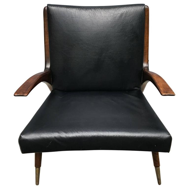 Lacquered Danish Mid-Century Modern Teak Lounge Chair, 1950s For Sale