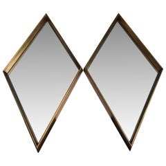 Pair Of Mid-Century Modern Diamond Shaped Mirrors