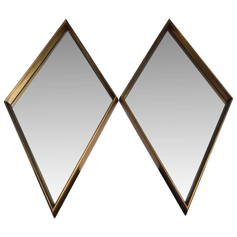 Pair Of Mid-Century Modern Diamond Shaped Mirrors For Sale