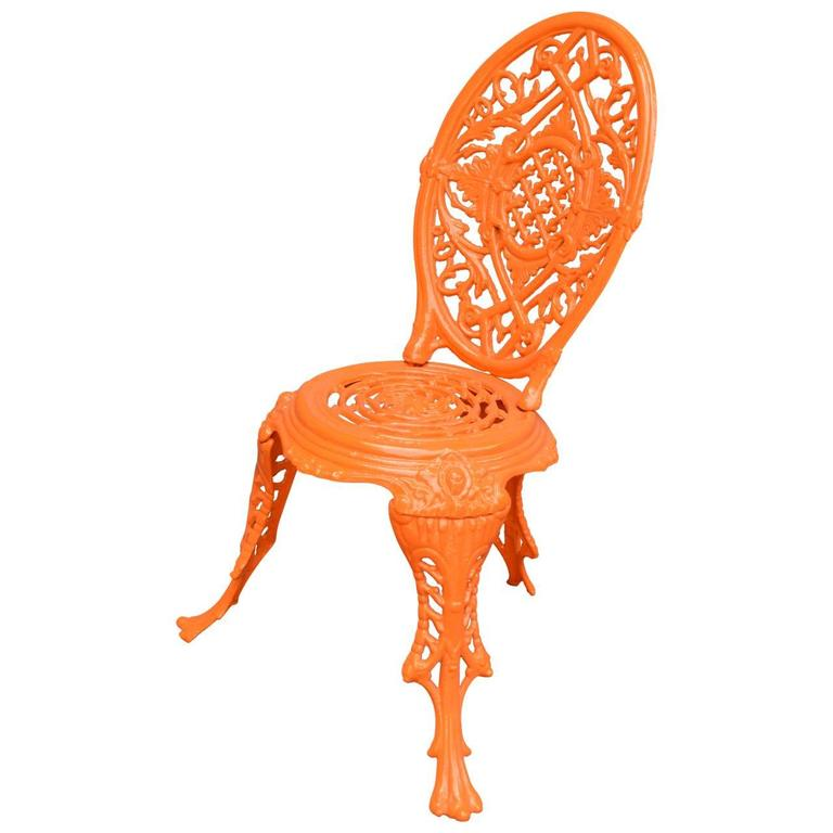 Early 20th Century Orange Cast Iron Garden Chair For Sale