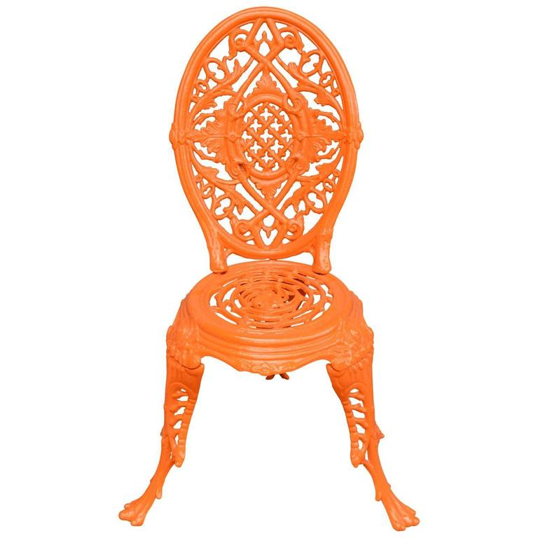 English Early 20th Century Orange Cast Iron Garden Chair For Sale