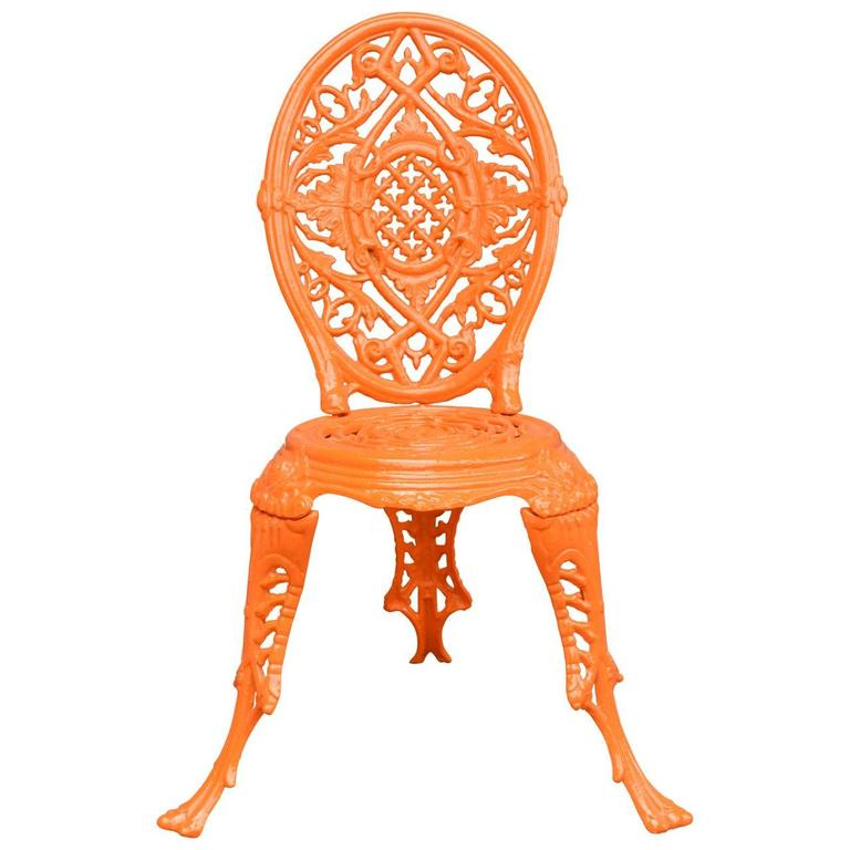 Neoclassical Early 20th Century Orange Cast Iron Garden Chair For Sale