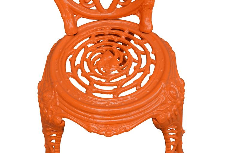 Early 20th Century Orange Cast Iron Garden Chair In Good Condition For Sale In Haddonfield, NJ