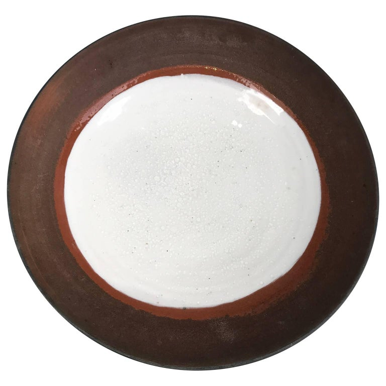 Large Mid-Century Modern Glazed Stoneware Charger Plate For Sale
