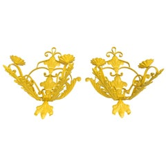 Pair of Bright Sunshine Yellow Wall Sconces