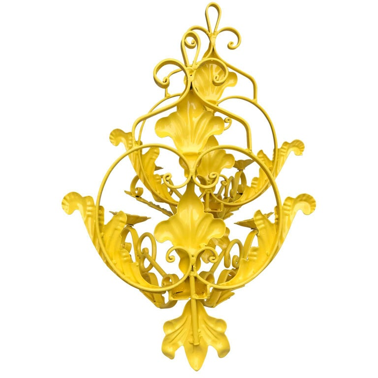 Yellow Wall Sconces : Pair of Bright Sunshine Yellow Wall Sconces For Sale at 1stdibs