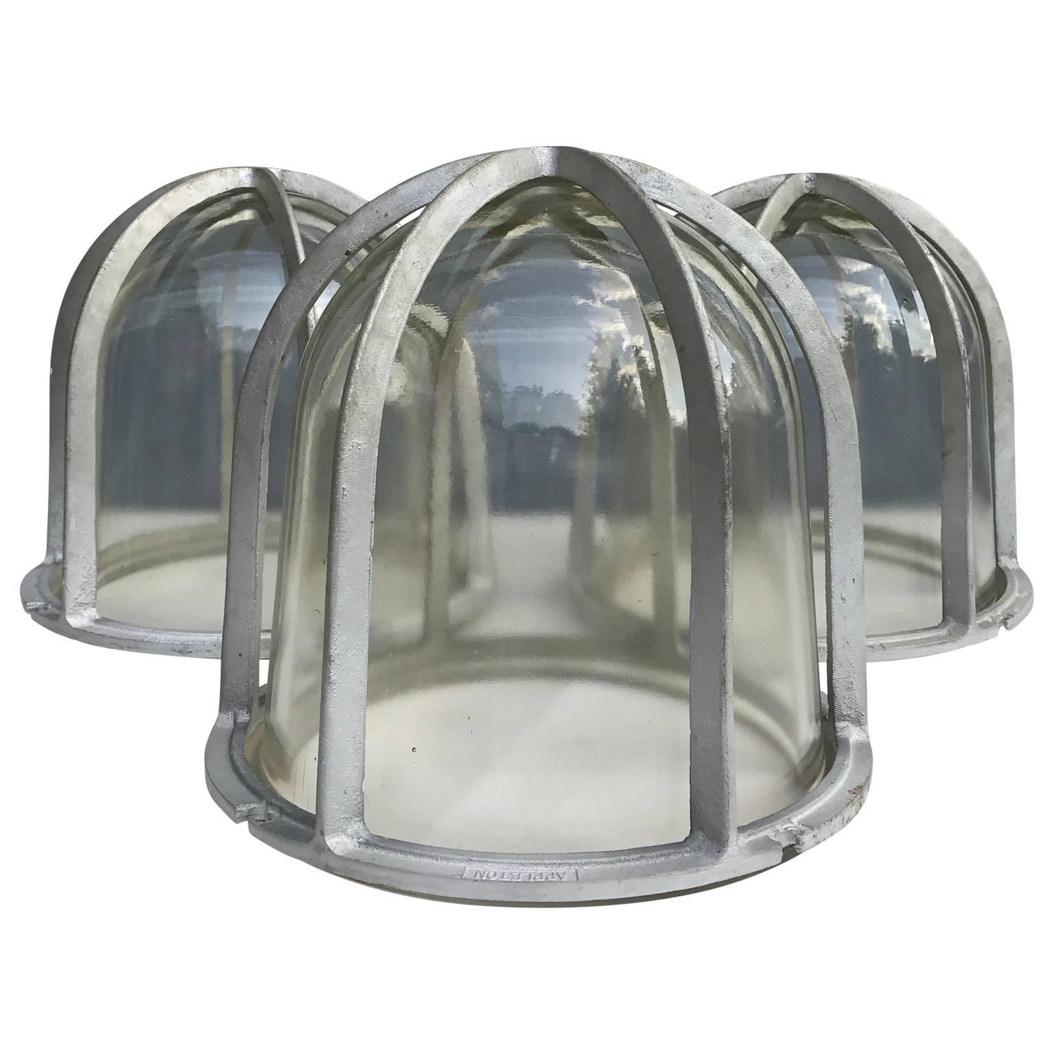 Set of Three Large Industrial Appleton Blast-Resistant Ceiling Lamps