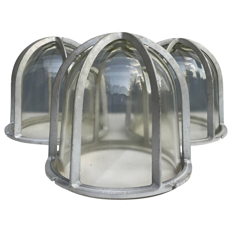 Set of Three Large Industrial Appleton Blast-Resistant Ceiling Lamps For Sale