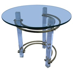 Mid-Century Charles Hollis Jones Brass and Lucite End Tables by Furnishme Inc