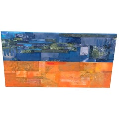 Modern Multimedia Painting of Blue and Orange Collage