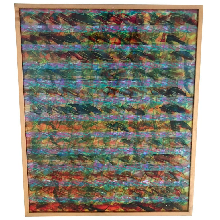 Mid-Century Modern Abstract Layered Glass Painting For Sale