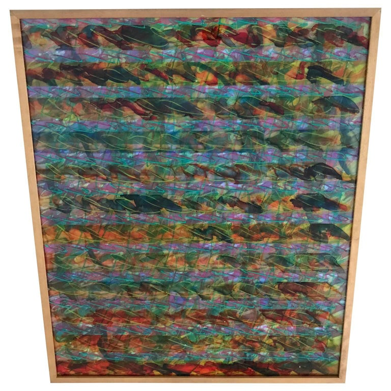 Italian Abstract Layered Glass Painting For Sale