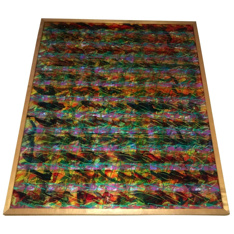 Hand-Painted Abstract Layered Glass Painting For Sale