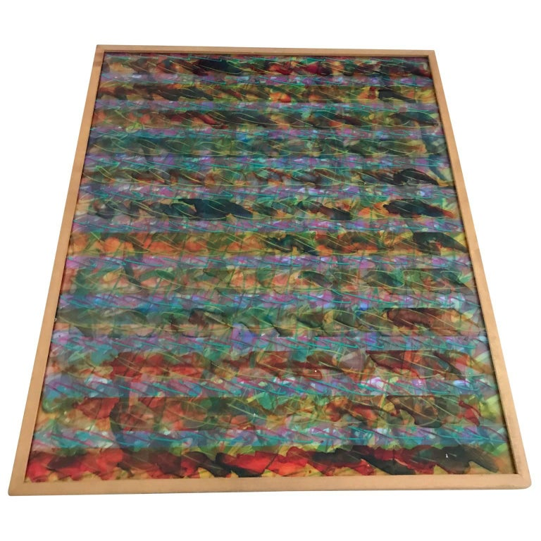Abstract Layered Glass Painting In Good Condition For Sale In Haddonfield, NJ