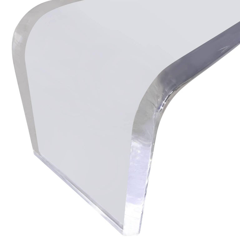 Large Mid-Century Modern Hollis Style Lucite Waterfall Bench For Sale 1