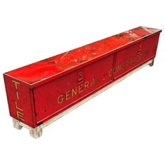 Long Red and Liquid-Glass Covered Industrial Bench