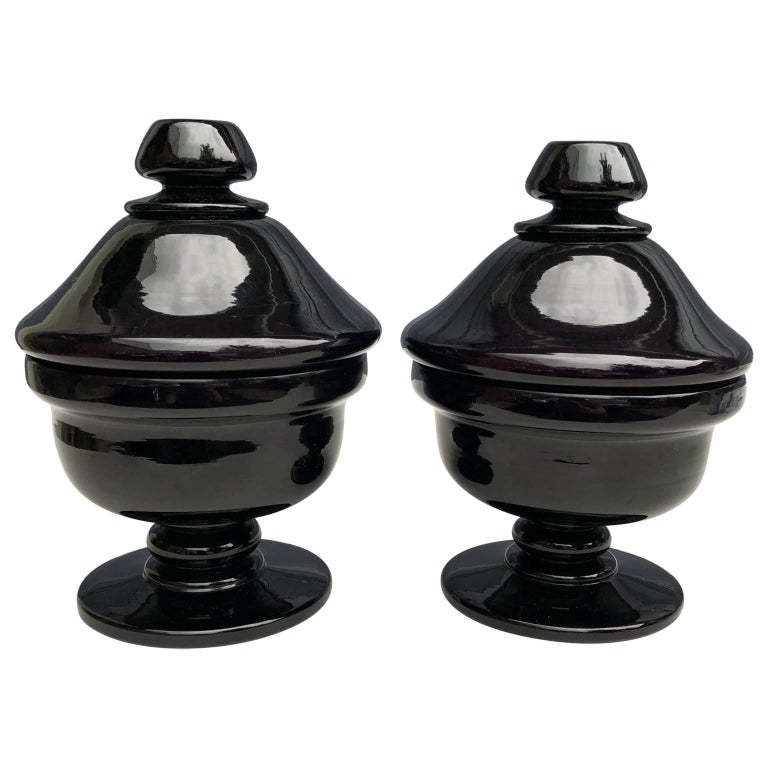 Pair of Early 20th Century Amethyst Glass Potpourri Vases