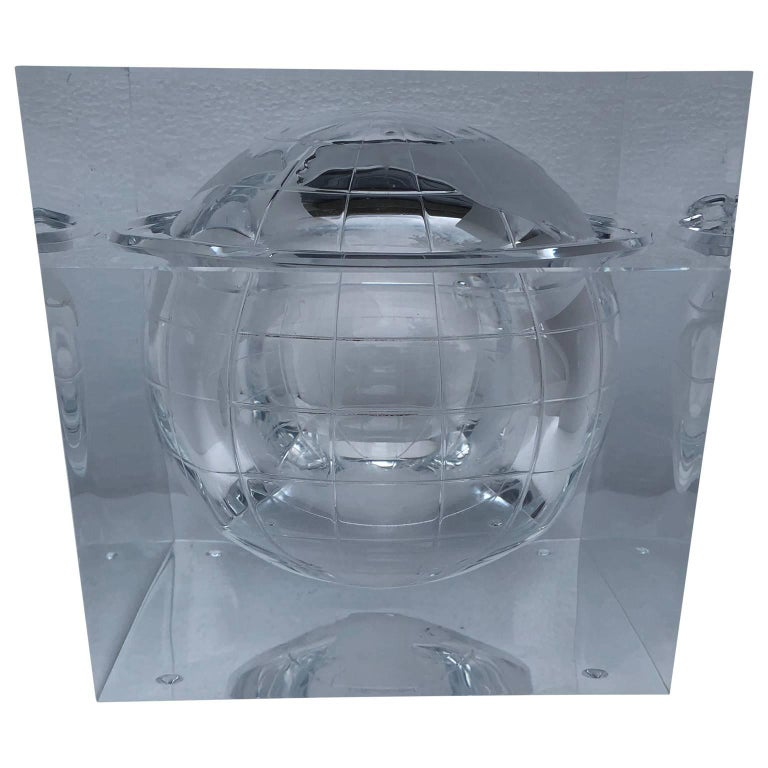 Alessandro Albrizzi Lucite world globe form ice bucket.