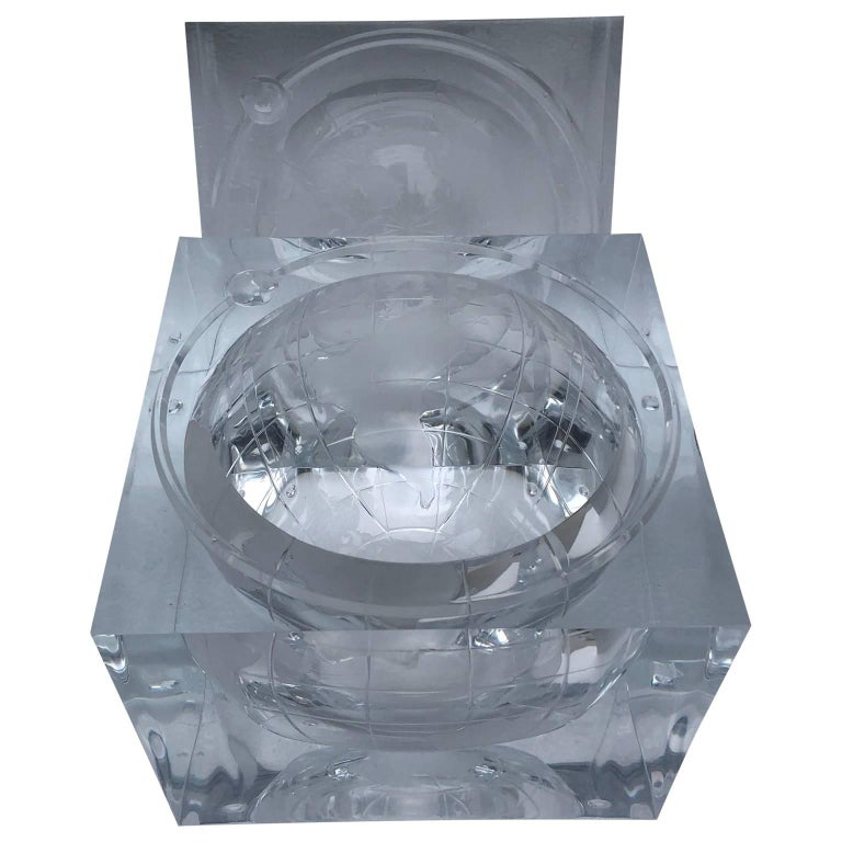 Alessandro Albrizzi Lucite World Globe Form Ice Bucket 1