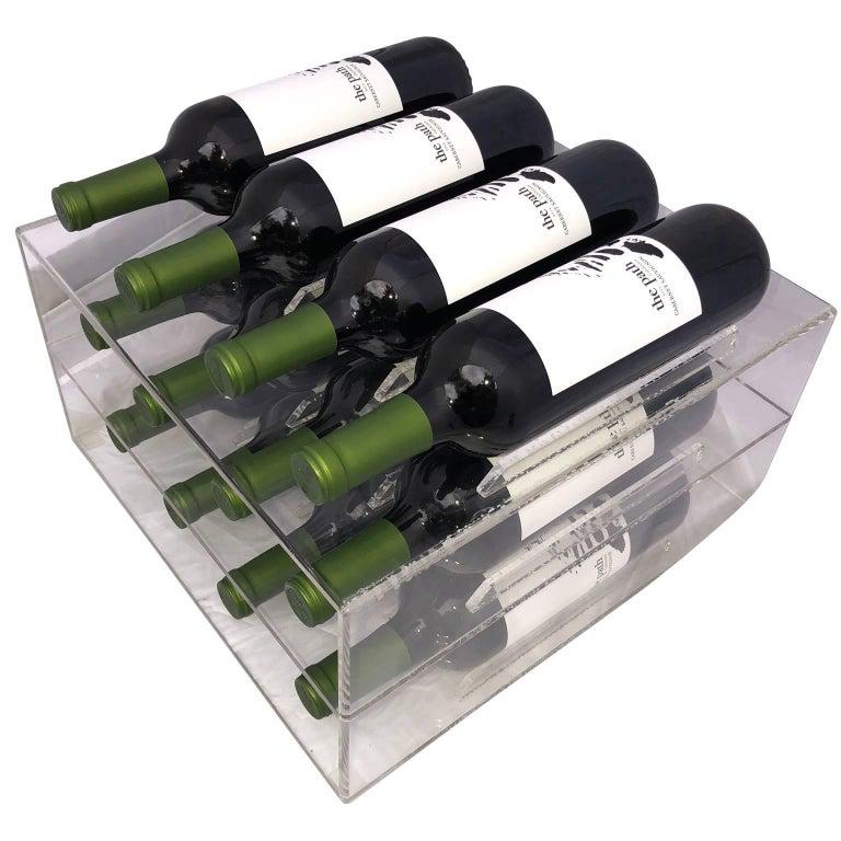 20th Century Mid-Century Lucite 8 Bottle Wine Rack For Sale