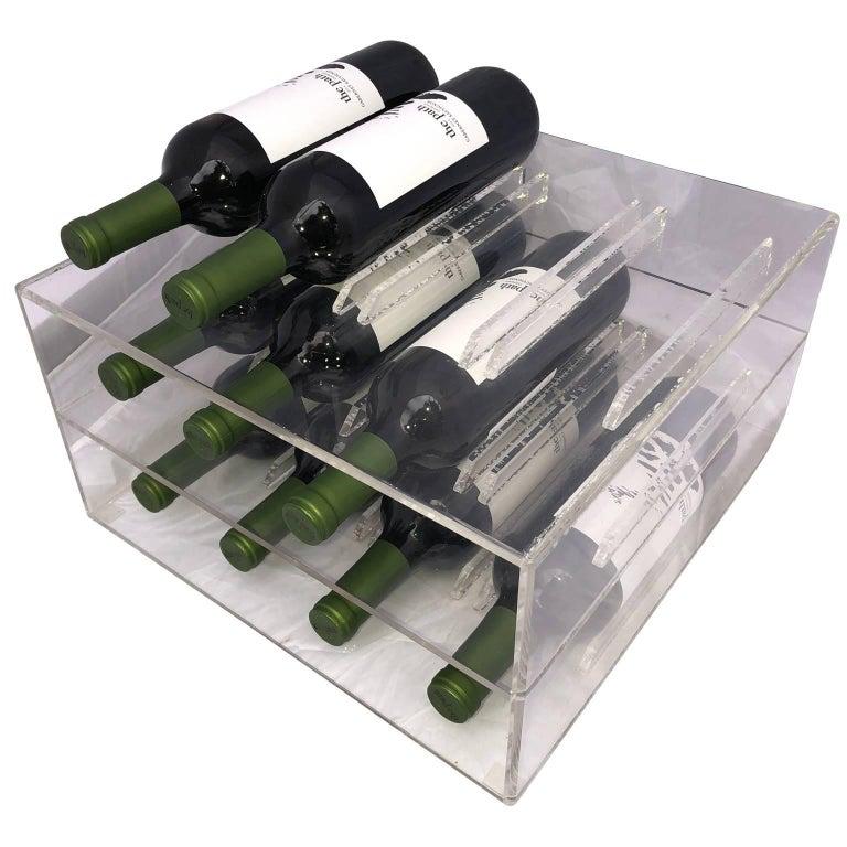 Mid-Century Lucite 8 Bottle Wine Rack For Sale 2