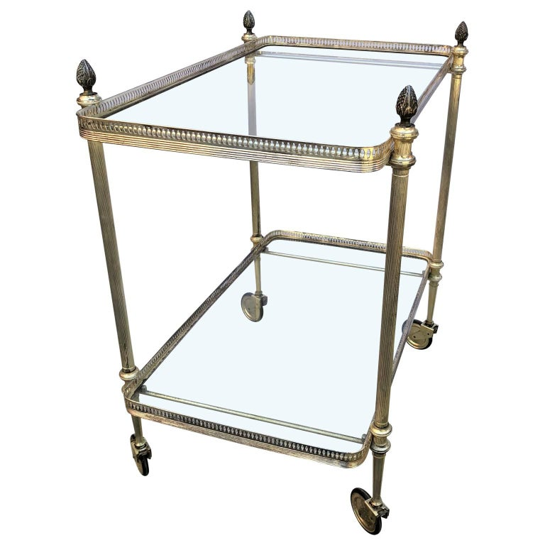 Brass Vintage Italian Silvered Two-Tier Bar Cart For Sale