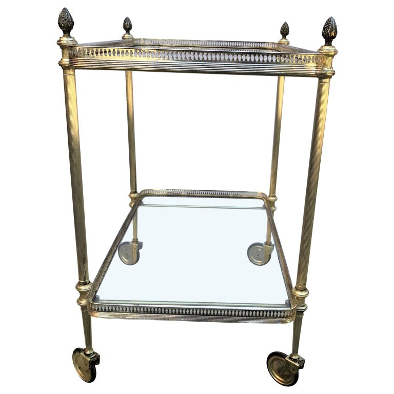Vintage Italian Silvered Two-Tier Bar Cart In Good Condition For Sale In Haddonfield, NJ