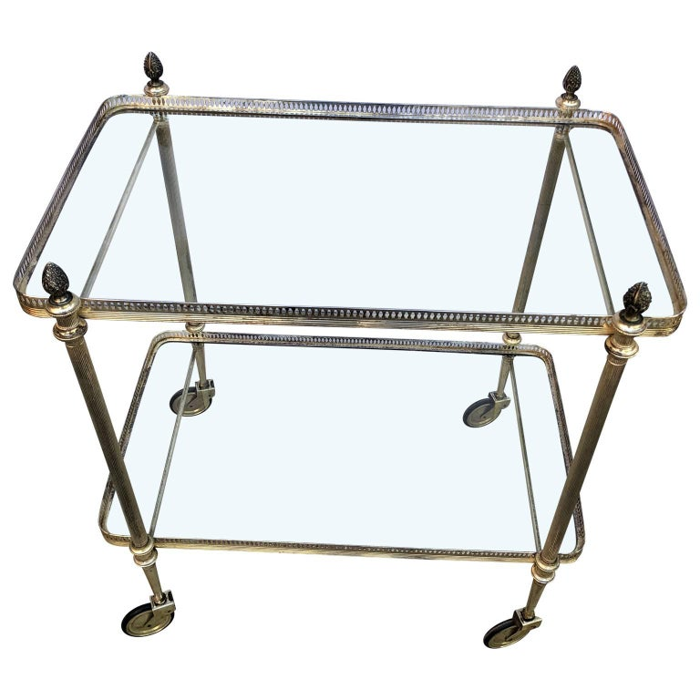 Vintage Italian two-tier bar trolley in a silvered finish.
