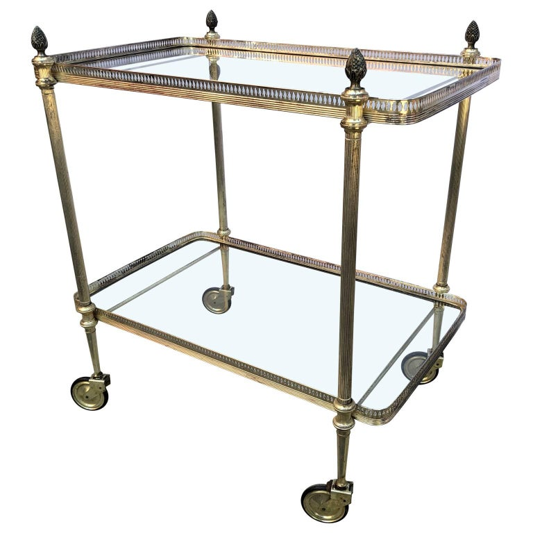 Mid-Century Modern Vintage Italian Silvered Two-Tier Bar Cart For Sale
