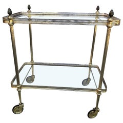 Vintage Italian Silvered Two-Tier Bar Cart