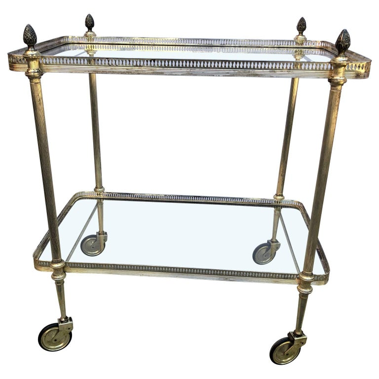 Vintage Italian Silvered Two-Tier Bar Cart For Sale