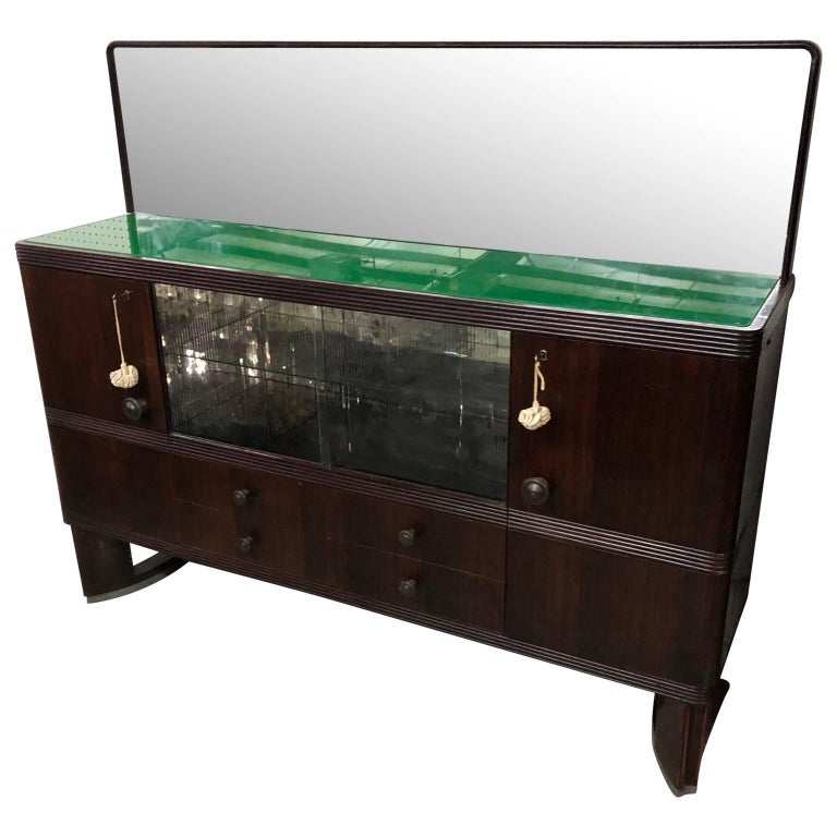 Vintage Italian Art Deco Sideboard with Dry Bar, 1930s