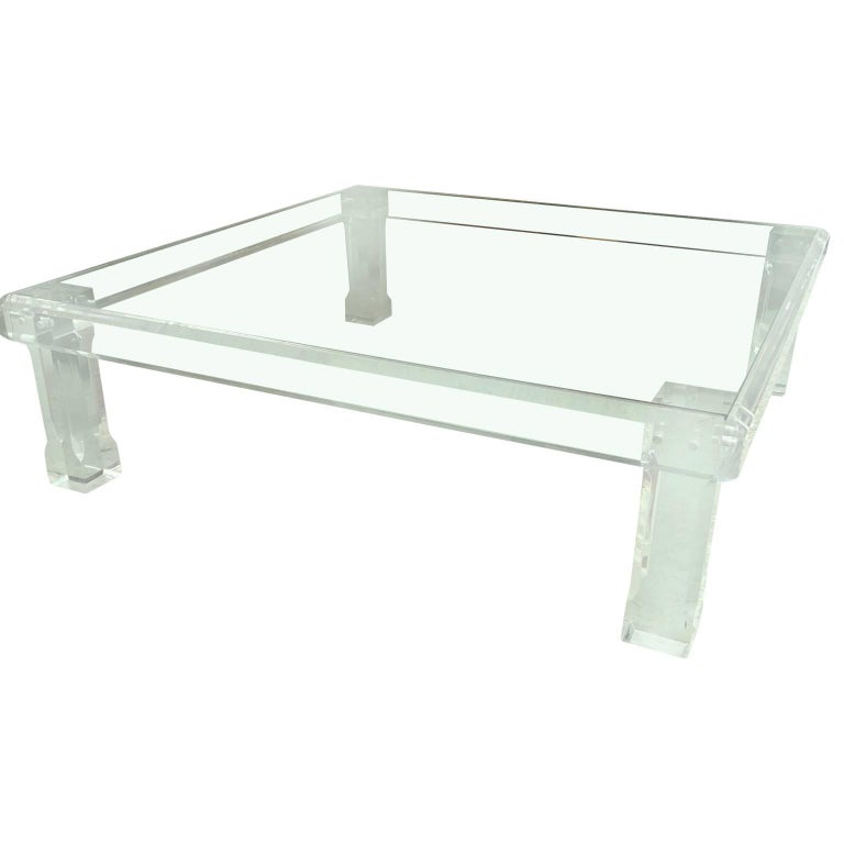 Large Square Karl Springer Style Lucite Cocktail and Sofa Table