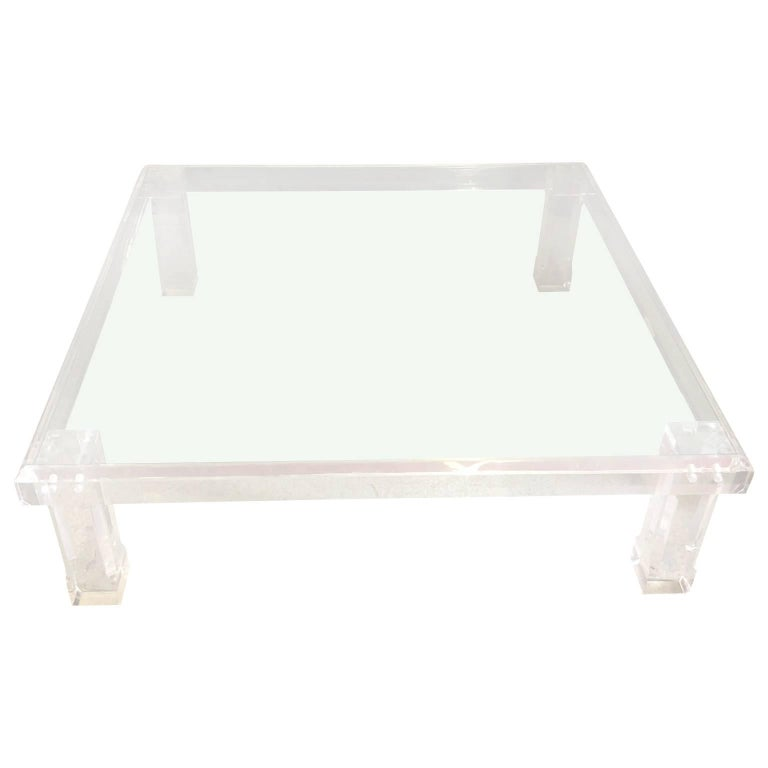 Large Square Karl Springer Style Lucite Cocktail And Sofa