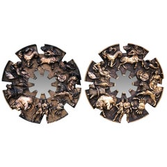 Pair Of Large Round Bronzed Zodiac Sunburst Wall Mirrors