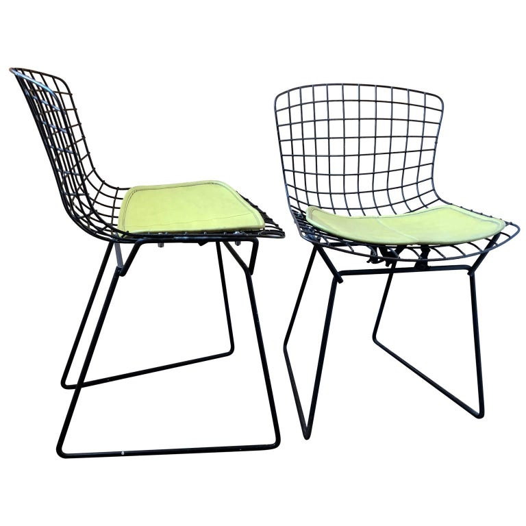 Pair of Smaller Black Wire Bertoia Children's Chairs with Yellow Fabric by Knoll For Sale 2