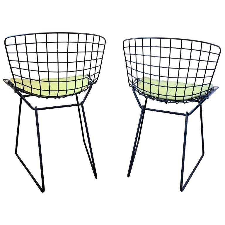 Pair of Smaller Black Wire Bertoia Children's Chairs with Yellow Fabric by Knoll For Sale 1