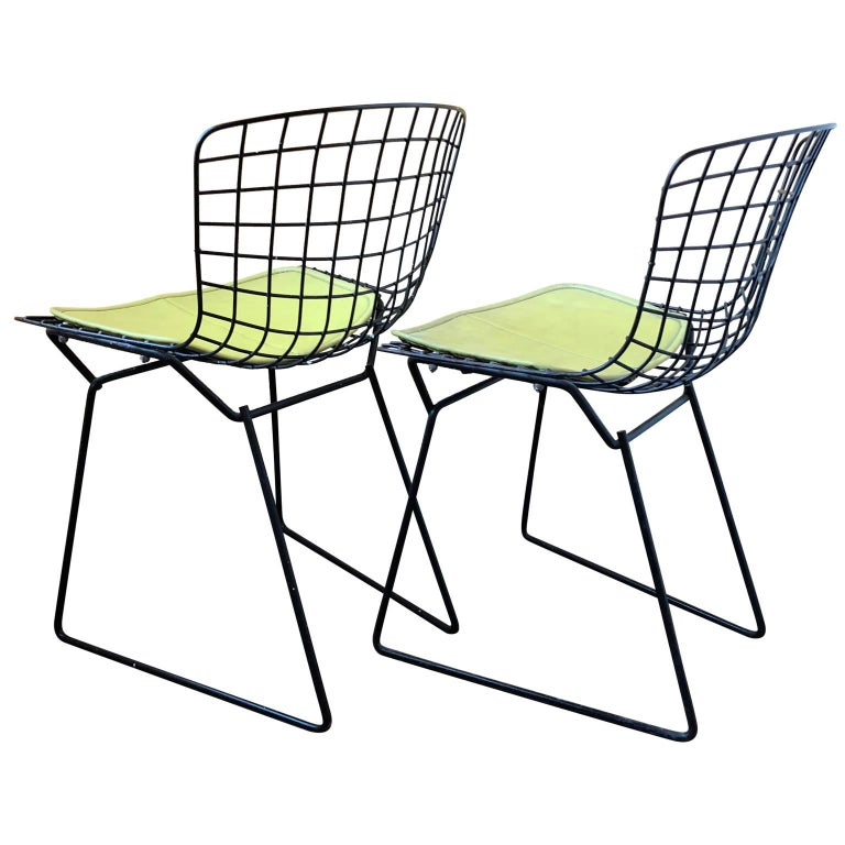 Late 20th Century Pair of Smaller Black Wire Bertoia Children's Chairs with Yellow Fabric by Knoll For Sale