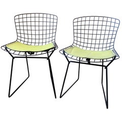 Pair of Smaller Black Wire Bertoia Children's Chairs with Yellow Fabric by Knoll