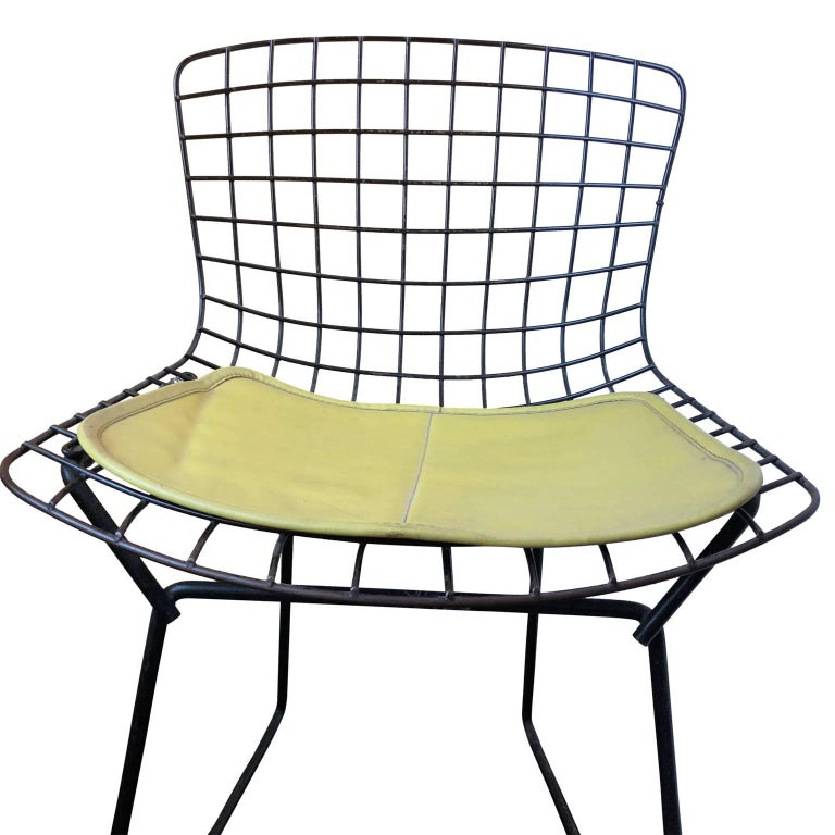 Mid-Century Modern Pair of Smaller Black Wire Bertoia Children's Chairs with Yellow Fabric by Knoll For Sale