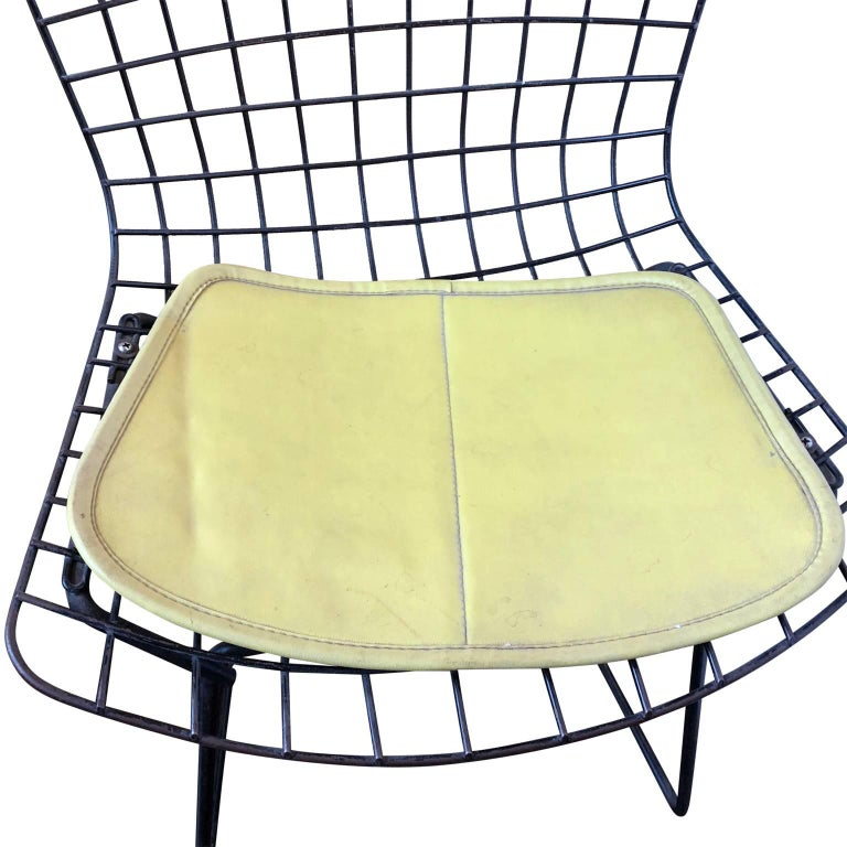 Pair of Smaller Black Wire Bertoia Children's Chairs with Yellow Fabric by Knoll For Sale 3