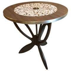 Round Mid-Century Modern Tile Top Butterfly Cocktail Table