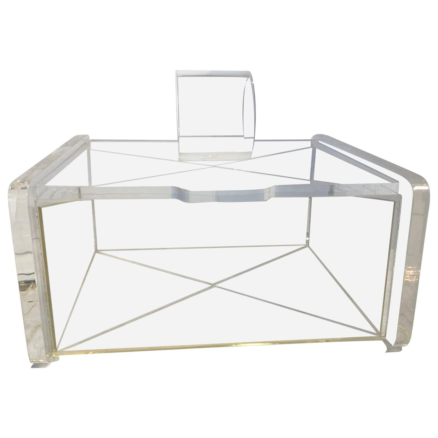 Midcentury Transparent Lucite Jewelry Box For Sale at 1stdibs