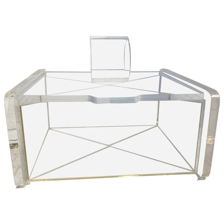Midcentury Transparent Lucite Jewelry Box