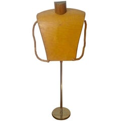 Midcentury Wood and Chrome Mannequin Stand