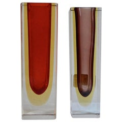 Pair of Midcentury Red and Burgundy Sommerso Vases
