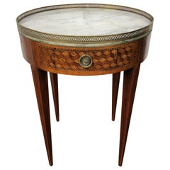 Early 19th Century Louis XVI French Marquetry Bouillotte Table White Marple Top